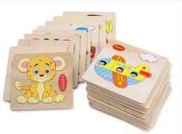 Wholesale Wooden Blocks Free Shipping - Baby 3D Wooden Puzzles Educational Toys For Child Building Blocks Wood Toy Jigsaw Craft Animals Free Shipping