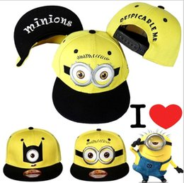 Wholesale Despicable Minion Dave Plush - New Fashion Minions Plush Hats Jorge Dave Stewart Cosplay Cap Despicable Plush Hat snapback hats Street Headwear for adults and kids