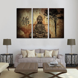Wholesale Chinese Buddha Painting - 3 Picture Combination Religion Buddha In Grotto With Chinese Fo Wall Art On Canvas Religion The Picture For Home Modern Decor