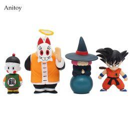 Wholesale Master Roshi Figure - 4pcs set Anime Cartoon Dragon Ball Z Sun Goku Master Roshi Gohan Son Gokou PVC Action Figure Collectible Model Toy 10-15cm KT264