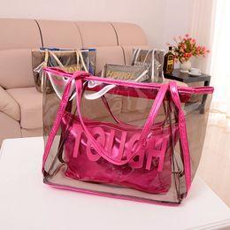 Wholesale Handbag Sweet Candy Bag - Hot Vintage Europe Fashion Women Clear Transparent Handbag Sweet Jelly Beach Bag Candy Colors Shoulder Bags Tote bag