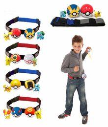 Wholesale Kids Play Balls Wholesale - Hot Sale 2pcs Pokeball+2pcs Random Figure For Collection Play Game Poke Ball Belt Poke Game Pikachu Clip n Pretend