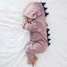 Wholesale Linen Jumpsuits - cute causal baby romper coat lovely dinosaur cotton hooded jumpsuit for 0-18month baby infant newborn dargon style clothes hot