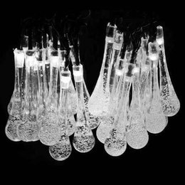 Wholesale Decor Christmas Tree Light - Newest Solar Powered 20 LED Icicle Raindrop String Fairy Light Outdoor Garden Wedding XMas Christmas Tree Decor