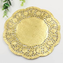 """Wholesale Cake Doilies - Wholesale- Creative Craft 6.5"""" Inch Round Gold Paper Lace Doilies Cake Placemat Party Wedding Gift Decoration 20pcs pack"""