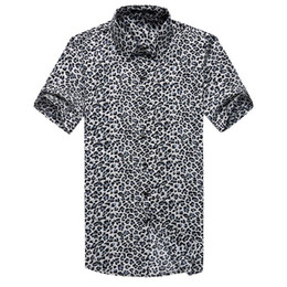 Wholesale Lycra Wholesale Shirt - Wholesale-New Arrived 2016 Mens Brand Short Sleeve Leopard Grain Men Leisure Shirts High Quality Solid Male Fit shirts 3xl Free Shipping