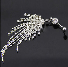 Wholesale Gemstone Buttons - Rhinestone Tassel Navel Dangle Button Belly Ring Bar Body Piercing Jewelry