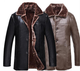 Wholesale Age Breast - High quality pu leather clothes Plus velvet thickening men coat fashion jacket 2018 new lapel Winter clothing Middle-aged man jacket
