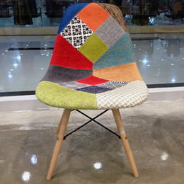 Wholesale Modern Wood Dining Chairs - 2017New 1 Pair Casual Cloth dining Wood Legs Dining Room Furniture Fashion Exquisite Creative Morden Leisure Dining Chairs