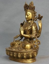 Wholesale Rare Buddha - Rare China Tibet Bronze 4 Arms Kwan-yin Chenrizg Buddha Statue