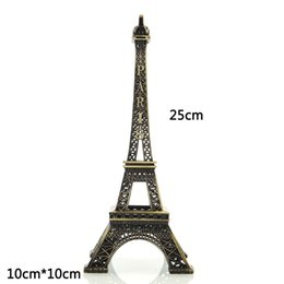 Wholesale Statue Home Decor - hot sale 1pc Bronze Paris Eiffel Tower metal Figurine Statue vintage Model Home Decors alloy Souvenir 25 CM