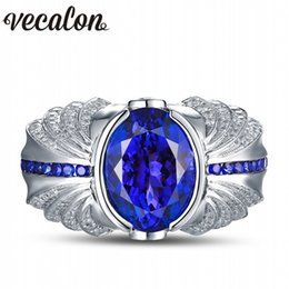 Wholesale Men Diamond Ring Designs - Vecalon Vintage Design Men fashion Jewelry wedding Band ring 5ct Sapphire Cz diamond 925 Sterling Silver Engagement Finger ring