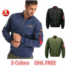 Wholesale Mens Long Military Coats - Hot Selling Bomber Jacket Flight Pilot Jackets Mens Casual Flying Coats Long Sleeve Slim Fit Clothes Military Air Force Embroidery DHL Free