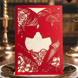 Wholesale Romantic Wedding Invitations - Romantic Red Kissing Lovers Wedding Invitations Cards, By Wishmade, CW020