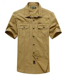 Atacado-2016 homens camisa militar verão homens Casual Dress Cargo camisas de algodão Mangas curtas Camisa Masculina cheap wholesale military shirts de Fornecedores de camisas militares por atacado