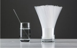Wholesale Flexible Plastic Straw - 2000 Pieces Clear Plastic Drinking Straw 6*260mm, White Extendable Flexible Drink Straws Disposable PP Straws EMS Free Shipping