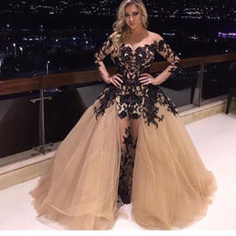 Wholesale Ruffle Short Puffy Prom Dresses - Sheer Neck Champagne Prom Dresses Ruffles Puffy Full Length Robe De Soiree Black Lace Appliques Evening Gowns Sleeves with Detachable Train
