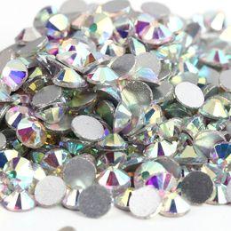 Wholesale Flatback Rhinestones - Hot Sale 10 Bags Lot super glitter rhinestones Crystal AB Color ss3-ss50 Non HotFix FlatBack Nail Art Rhinestones gament Glass rhinestone
