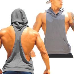 Wholesale Hoodies Shirts For Men - Factory Sale- Cotton Stringer Blank Bodybuilding Equipment Fitness Hoodies Sleeveless Gym Sport Undershirt For Men Tank Tops Shirt MY9022