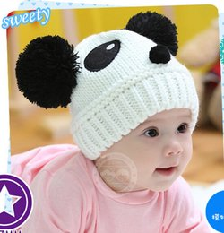 Wholesale Double Ball Knitted Cap Baby - Wholesale Baby Winter Warm Beanie Hat Baby Toddler Knitted Double Ball Knitted Cap Children Hats Children Crochet Mouse Cap 12 Pieces