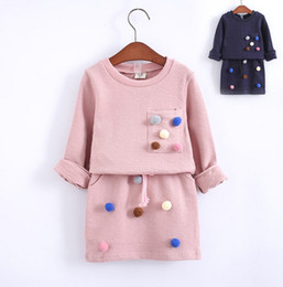 Wholesale Korean Style Long Skirts - 2016 Korean Style Autumn Candy Color Ball Beading Long Sleeve Hoodies+ Pencil Skirt 2 pcs Girls Set Children Navy Pink Casual Outfits B4230