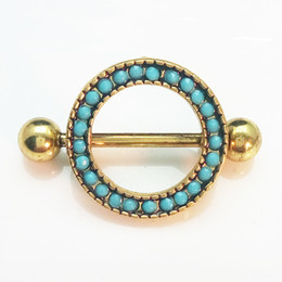 Wholesale Round Pearl Buttons - Round bule beads Dangle Body Piercing Rhinestone Navel Belly Button Ring 316L Medical C024