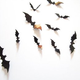 Wholesale 3d Decals For Walls - Scary Black Bats Decal 3D Black Bats Wall Stickers Wall Decals for Home Decor or Halloween Party Supplies Assorted Size