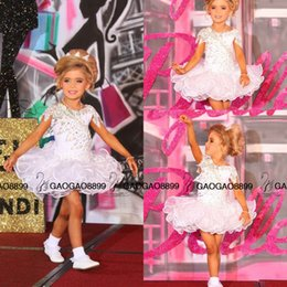 Wholesale Girls Beauty Pageant Cupcake Dresses - Custom Glitz Pageant Dresses National Level Beauty Stoned Cupcake Amazing Detail Lace Beaded Ball Gown Princess Girl's Flower Dress