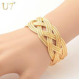 Wholesale Trendy Golden Chain - Wholesale-U7 Cuff Bracelets Wholesale Gold Plated Dubai Jewelry for Women Men Gift Trendy Golden Weave Bracelets Bangles H403