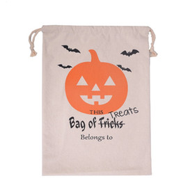 Wholesale Halloween Party Treats - Halloween Candy Gift Sack Treat or Trick Pumpkin Printed Bat Canvas Bag Children Party Festival Drawstring Bag 9styles
