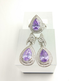Wholesale Coloured Light Pendants - Blue Topaz Lilac colour Zircon Jewelry Sets 925 Silver Earrings Pendant Necklace Rings Size  7 8 9 For Women Free Jewelry Box