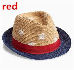 Wholesale Dicers Fedora Hats - 2colors fashion next Children Summer Fedora Hats with bands Kids Jazz Caps Baby Straw Fedora hats children dicers D779