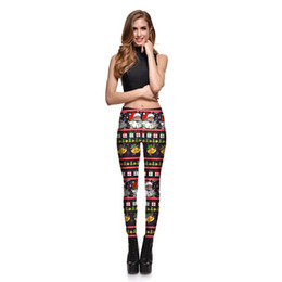 Wholesale Womens Christmas Pants - Womens Christmas Santa Claus Print Pattern Slim Leggings Skinny Pants Female Plus Size Digital Printing Elastic Trousers S-4XL