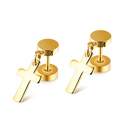 Wholesale Titanium Cross Earrings - 2017 black men women fashion titanium barbell Cross Earrings