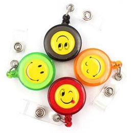 Wholesale Id Name Office Card Holder - Smiling Face 20Pcs Retractable Pull Key ID Card Clip ID Badge Lanyard Name Tag Card Holder Recoil Reel For School Office Company