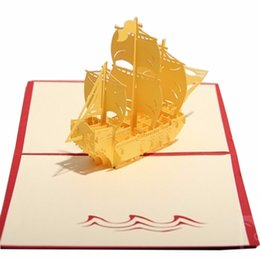 Wholesale Ancient Paper - 3D Chinese style Handmade Paper Card Personalized Vintage Ancient Wooden Boat Postcards For Festival Greetings Invitat