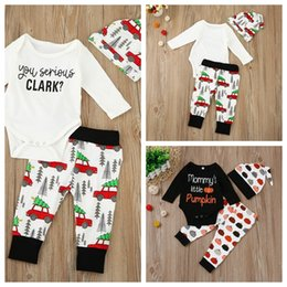 Wholesale Leopard Baby Hats - Baby Xmas Halloween pumpkin outfits kids car Christmas tree print hat+romper+pants 3pcs set children cotton suits 3 Styles