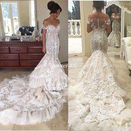 Wholesale Long Dresses Designs - Steven Khalil 2017 New Design Lace Wedding Dresses Illusion Off Shoulder Short Sleeves Cathedral Train Tulle Vintage Bridal Gowns Plus Size