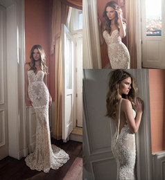 Wholesale White Dress Chain Backless - Sexy Berta Mermaid Wedding Dresses 2017 New Luxury Embroidery Backless with Pearls Chain Trumpt Vestido De Novia Custom BA2968
