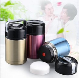Wholesale Stainless Steel Vacuum Flask Pot - Stainless Steel Vacuum Flask Lunch Bento Box Insulated Bottle Food Container Lunchbox Soup Box With Lunch Cooler box Burning Pot LJJK758