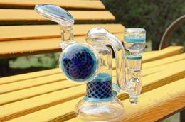 Wholesale shinning glasses - Heady Glass Bongs water pipes with USA colored seed of life design and shinning marble 14.5mm joint
