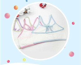 Wholesale Students Cotton Bra - 9-13T baby girls Lingerie vest Short student tie up bow tie bra Puberty Underwear Young girl bra Teenagers Student