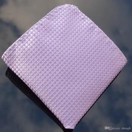 Wholesale Purple Ascot Cravat - Hanky purple checked Men's Fashion Pocket Square Hankerchief Wedding Party Hankerchief
