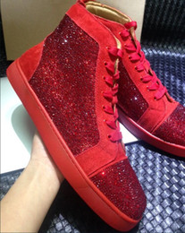 Wholesale Designer Red Bottom - Brand Genuine Leather with rhinestone Loubuten Red Bottom Shoes for Men Unisex Shoes Top Designer Luxury Brand Top Quality Men Shoes 2016