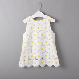 Wholesale Summer Flower Dresses Children Beach - Cute Toddler Lace Daisy Dress Flower Girls Dress Children White Top Rated Hot Selling Sleeveless Summer One-piece Toddler Clothing Garment