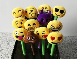 Wholesale Ballpoint Pen Drawings - emoji Ballpoint Pens Plush Toy children's love Creative Expression pen with cartoon plush toys kids Christmas Gift