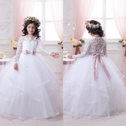 Wholesale Girls Puffy Tulle Skirt - Pink Sash Princess Ball Gown Lace Flower Girls Dresses Sheer Illusion Long Sleeves Tiered Skirts Layers Puffy Tulle Girls Pageant Gowns mz