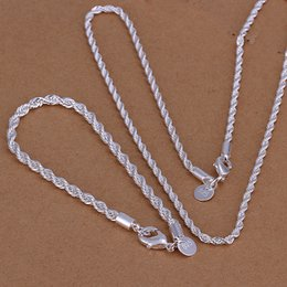 Wholesale Place Jewelry - Mixed Place 925 Silver Rope Chains Necklace+Bracelet 8inch Fashion Man's Jewelry set Necklaces 16inch-24inch Free Shipping S051
