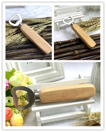 Wholesale White Wine Bottles - New Arrive Stainless steel wooden handle Red wine beer bottle opener