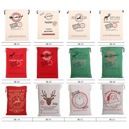 Wholesale Gift Bag Supplies - Christmas Gift Bag Large Canvas Santa Claus Bag Environmental Admission Package Pouch Bags Christmas Supply 12 Styles 0708028